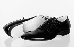 Italian mens dancing leather shoes. Italian mens dancing shinny leather shoes new custom special elegant classic glass reflection Stock Photo