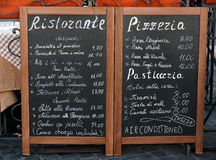 Italian menu. Restaurant chalkboard with typical Italian menu stock photography