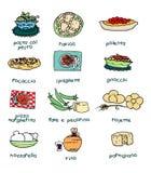 Italian menu. Some of most popular italian food. Digital illustration Royalty Free Stock Photography