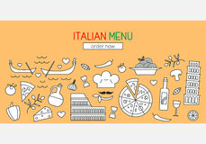 Italian menu banner template Royalty Free Stock Photo