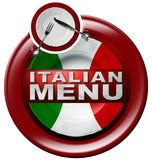 Italian Menu - Round Icon with Plate Royalty Free Stock Photos