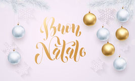 Italian Merry Christmas Buon Natale golden white snowflake decoration calligraphy Royalty Free Stock Images