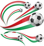 Italian and mexican flag with soccer ball. Italian and mexican flag set with soccer ball Stock Image