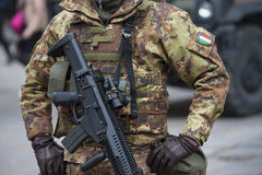 Italian military Army with submachine gun Stock Images