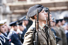 Italian military during a ceremony. Of the Italian armed forces Royalty Free Stock Image
