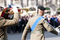 Italian military during a ceremony. Of the Italian armed forces Stock Photo