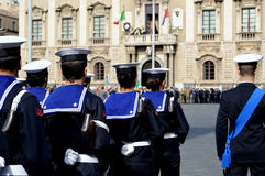 Italian military during a ceremony Stock Photo