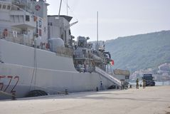 Italian military ship Libeccio in Montenegro. Zelenika town, Montenegro – June 18, 2016: Italian military ship Libeccio ancored in port of Zelenika town Stock Photo