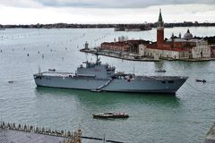 The Italian military ship San Marco moored in the Venetian laguna Royalty Free Stock Image