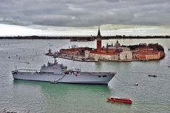 The Italian military ship San Marco moored in the Venetian laguna Royalty Free Stock Photos