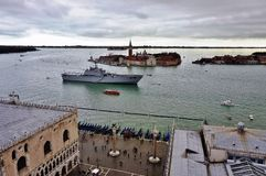The Italian military ship San Marco moored in the Venetian laguna Royalty Free Stock Photography