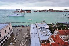 The Italian military ship San Marco moored in the Venetian laguna Royalty Free Stock Photo
