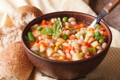 Italian minestrone soup in a bowl close up. Horizontal Royalty Free Stock Image