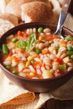 Italian minestrone soup in a bowl close up. vertical Royalty Free Stock Photos