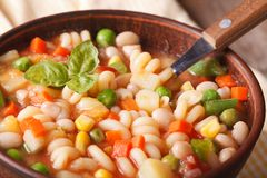 Italian minestrone soup in a bowl macro. Horizontal Royalty Free Stock Images