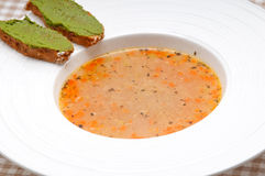 Italian minestrone soup with pesto crostini on side Royalty Free Stock Image