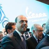 Italian minister Alfano at EICMA 2013 in Milan, Italy Stock Photos