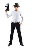 Italian mobster with weapon pointing up Royalty Free Stock Photo