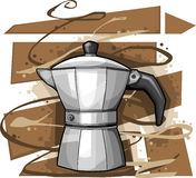 Italian Mocha. Cartoon Mocha on Abstract Brown and white background illustration stock illustration