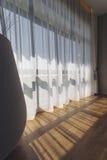 Italian Modern Model House : Curtain with Direct Sun Light Royalty Free Stock Photography