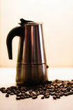 Italian moka coffee maker and coffee beans. Black and whit Royalty Free Stock Image