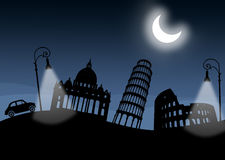 Italian monuments, italy. Night. Moon and lamps illuminated. Old car. Silhouette of the main Italian monuments. Night scene with large moon and Roman lamps Stock Photo