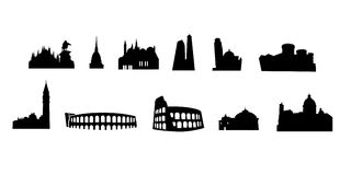 Italian monuments vectored. Vector silhouettes of most notable landmarks in italy, with rome, bologna, milan, naples, venice, turin, palermo, verona and more Stock Images