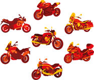 Italian motorcycle red icons. Some motorbike shapes  in red gradient Royalty Free Stock Photos