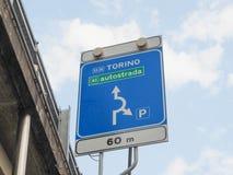 Italian motorway sign. Italian A5 motorway sign in Torino (Turin stock images