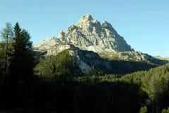 Italian Mountain Landscape. Beautiful forest and Dolomite mountain peak Royalty Free Stock Photo