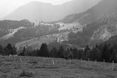 Alpine landscape. Black and white scenic view of picturesque Alpine landscape in Italy Royalty Free Stock Image