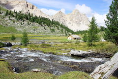Italian mountain landscape in Dolomiti FANES Nature Park royalty free stock photography