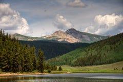 Italian Mountain over Spring Creek Rservoir Royalty Free Stock Photo