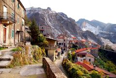 Italian mountain village. The village of Colonnata, in the marble mountains above Carrara in Tuscany Stock Photos