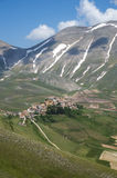 Italian mountain village Castelluccio Stock Photos