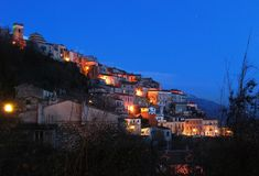 Italian mountain village nightview Stock Image