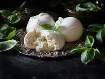 Italian mozzarella cheese stuffed with ricotta and persto. Close up Royalty Free Stock Photography
