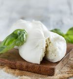 Italian mozzarella cheese stuffed with ricotta and persto. Close up Royalty Free Stock Image