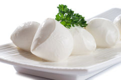 Italian mozzarella of fresh cheese from cow buffal Stock Photos