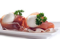 Italian mozzarella and parma ham Stock Images