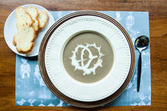 Italian mushroom soup and bread healthy diet. Stock Image