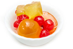 Italian Mustard with candied fruit and syrup on white bowl Stock Images