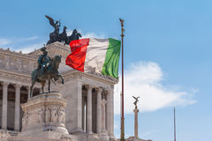 Italian national flag in front of Altare della Patria Royalty Free Stock Images