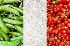Italian Flag of Italy made with food. The Italian national flag of Italy, Europe made with food including green beans, rice and tomatoes royalty free stock photography