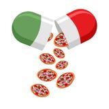 Italian national pill. Medicine patriotic. From the pills fall o Royalty Free Stock Photo