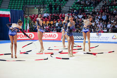 Italian national rhythmic gymnastic team Royalty Free Stock Image