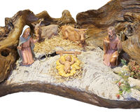 Italian nativity scene with baby Jesus Mary and Joseph. In the manger Royalty Free Stock Images