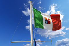 Italian Nautical Flag on Blue Sky Stock Photos