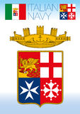 Italian navy flag, jack and coat of arm Stock Image