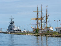 Italian navy ships in La Spezia port. Including the training vessel Palinuro, tall ship. Stock Photo